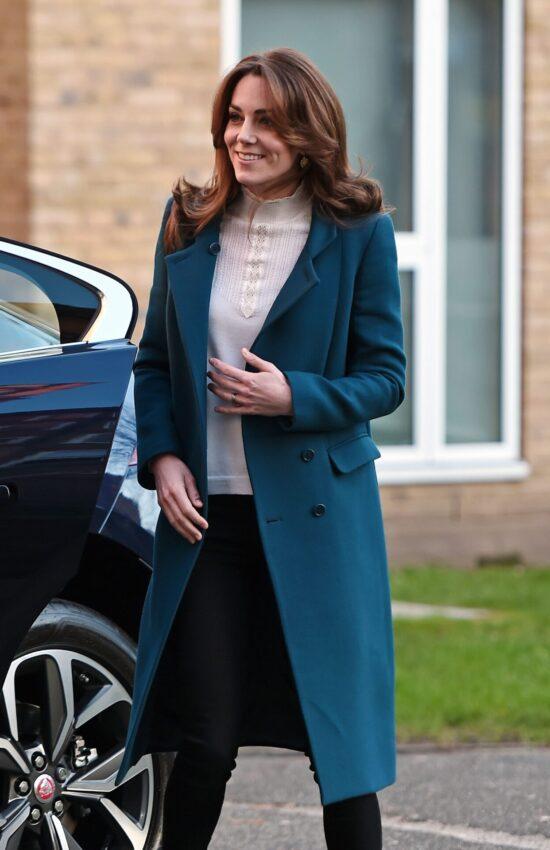 Duchess of Cambridge in Teal Coat for Pre-School Breakfast