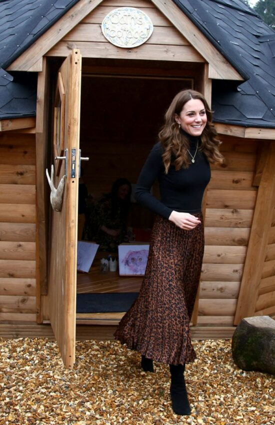 Duchess of Cambridge in Animal Print Zara Skirt for Mini-Tour