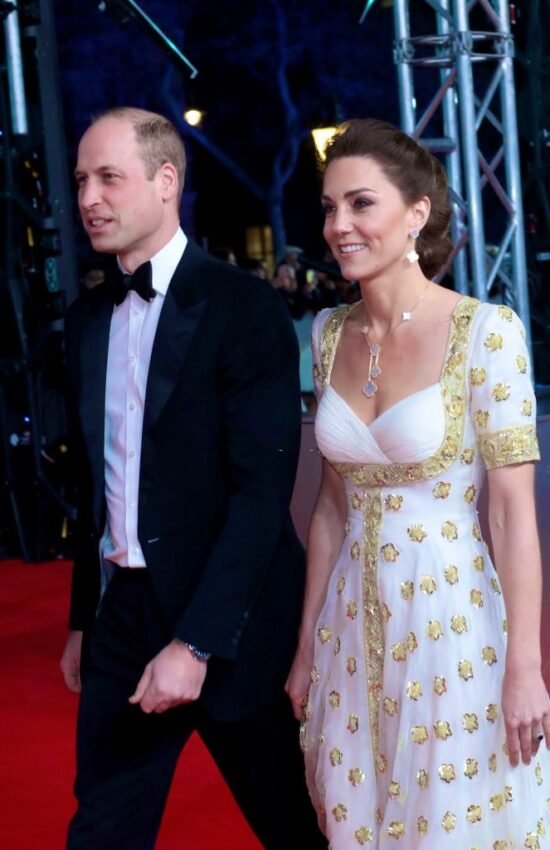 Duchess of Cambridge in Gold Hibiscus McQueen Gown for BAFTA Awards
