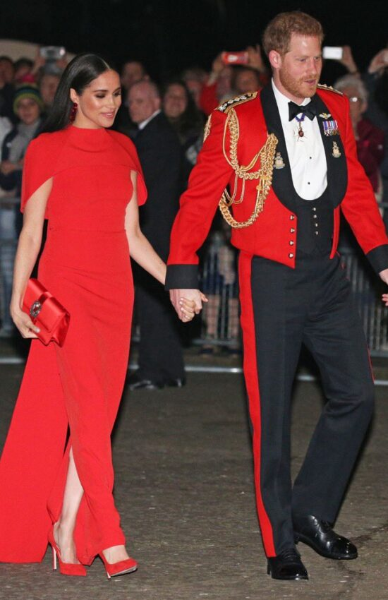 Meghan Markle Stuns in Red Safiyaa Dress for Military Music Festival