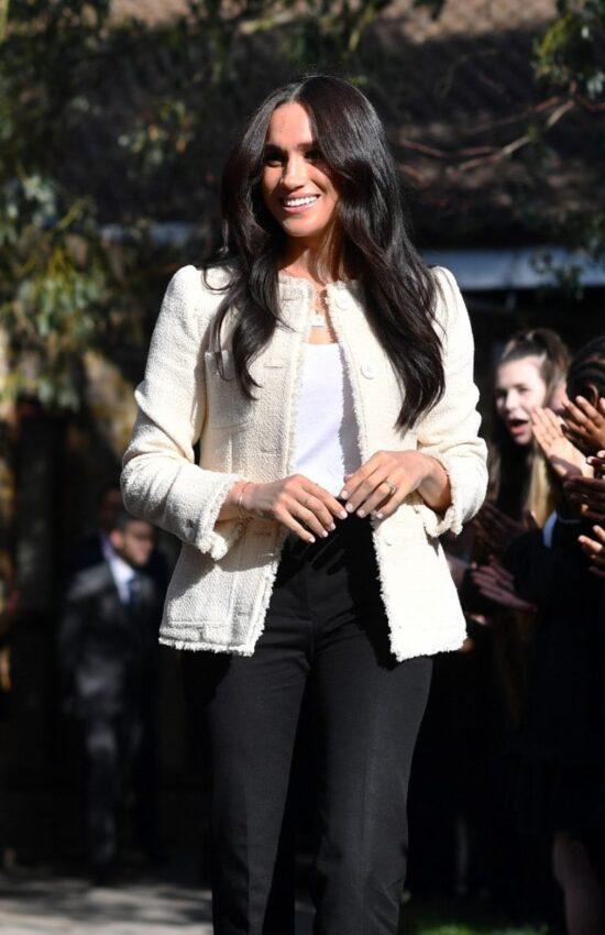 Meghan Markle Wears Boucle Jacket for Final Solo Appearance