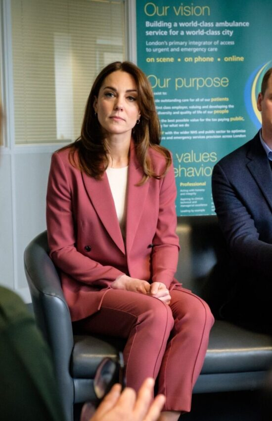 Kate Middleton in Pink Marks & Spencer Pantsuit for NHS Call Center Visit