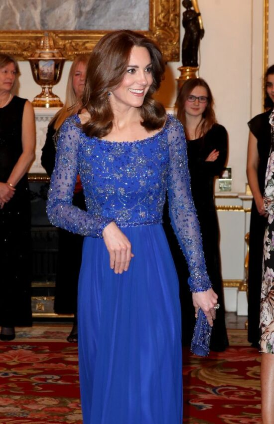 Kate Middleton Dazzles in Blue Jenny Packham Repeat for Palace Reception
