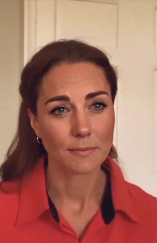 Kate Middleton in Red Blouse for Virtual Tour of Action on Addiction Centre