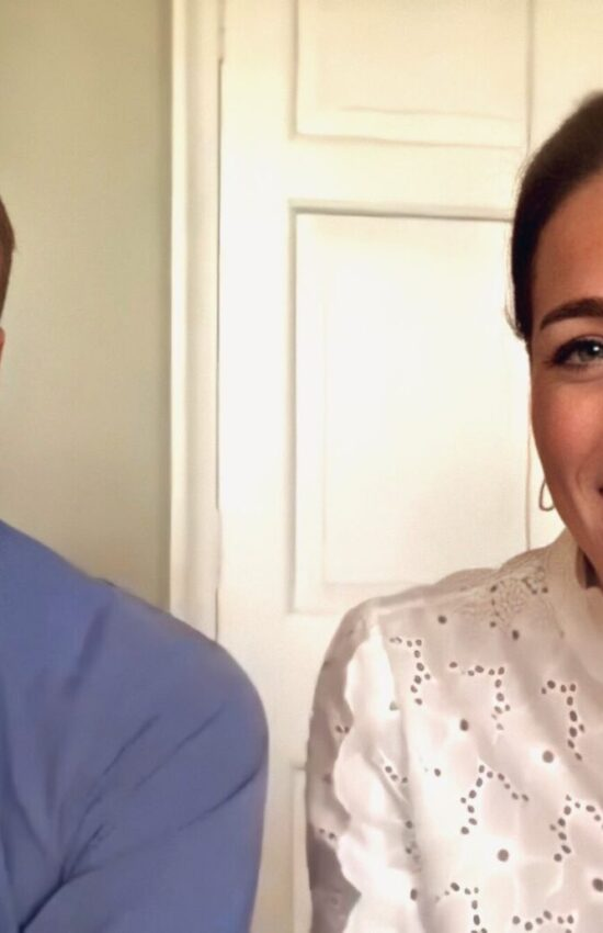 Kate Middleton in Eyelet Shirt for Volunteer Video Call
