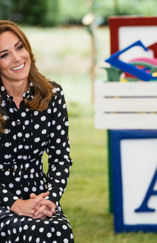 Kate Middleton in Black Polka Dress for Parenting Chat with BBC