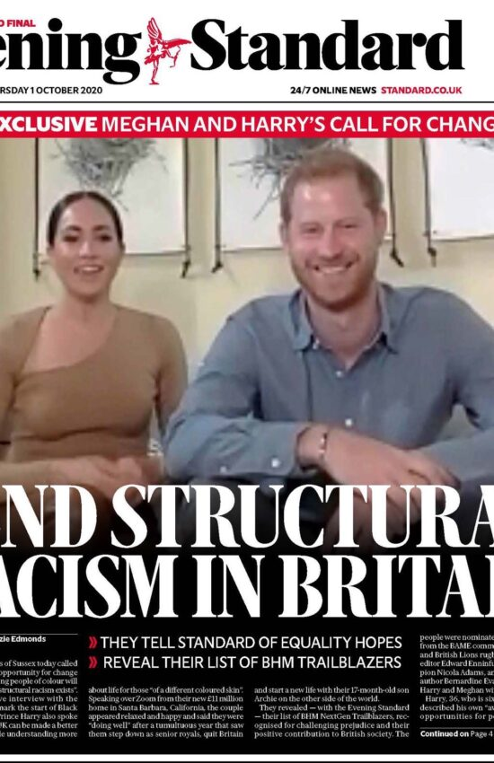 Meghan Markle and Prince Harry Discuss Structural Racism in Interview with Evening Standard