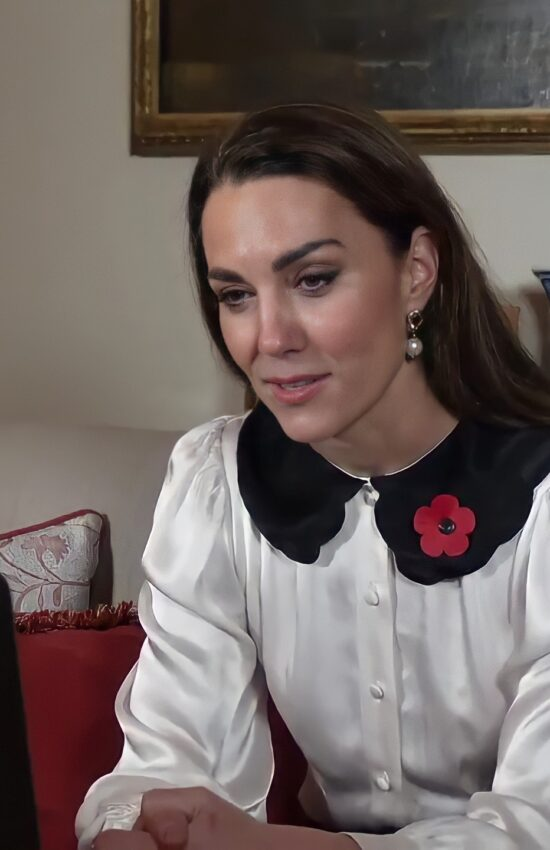 Kate Middleton in Ghost Blouse for Remembrance Week Video Call
