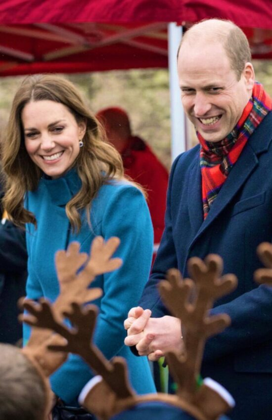 Kate Middleton in Blue Catherine Walker Coat and Hobbs Repeat for Royal Train Tour Day Two