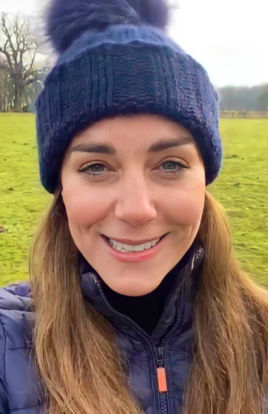 Kate Middleton in Blue Barbour Puffer Coat for Outdoor Video Message