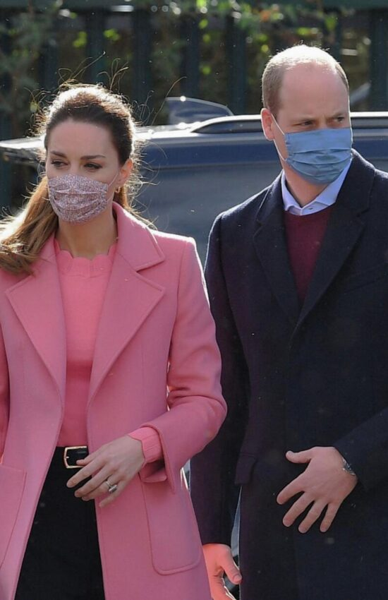 Kate Middleton in Soft Pink Wrap Coat for First In-Person Engagement of 2021