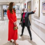 Kate Middleton in Red Eponine Coat for Visit to National Portrait Archive