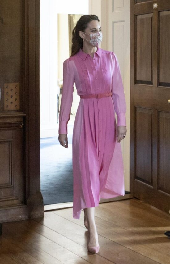 Kate Middleton Wears Pink ME+EM Silk Shirt Dress for Meeting with Mila