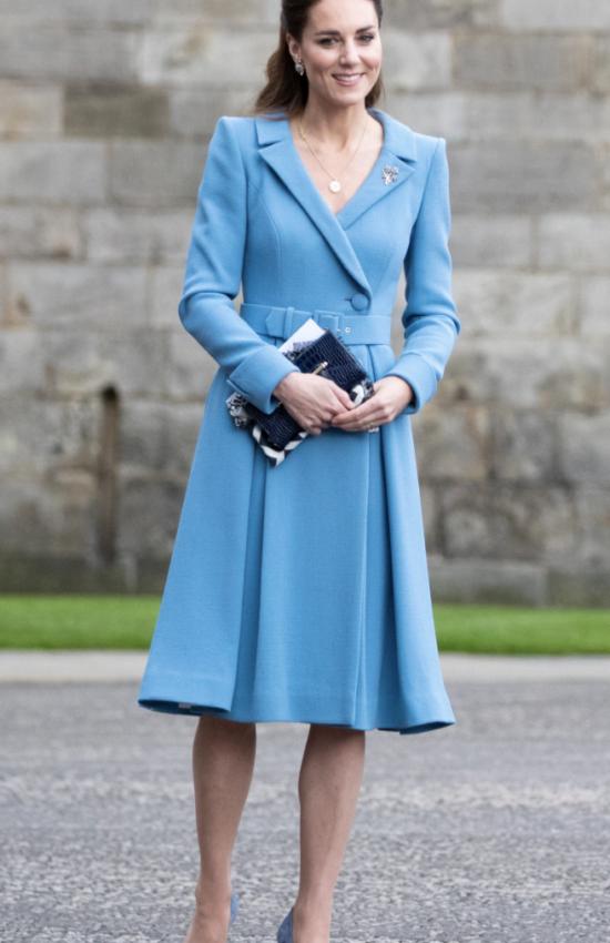 Kate Middleton Wears Powder Blue Catherine Walker Dress Coat for Closing Ceremony in Scotland