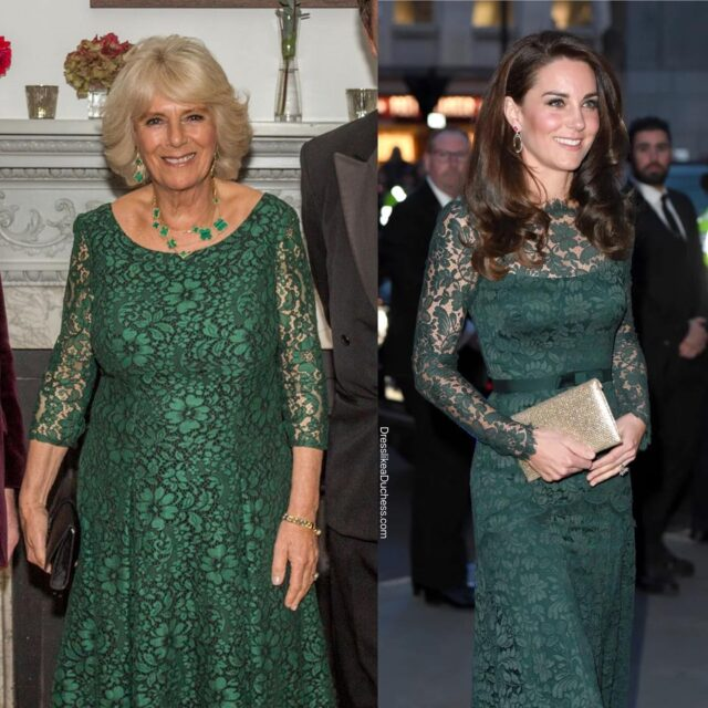 A few times the Duchess of Cambridge and the Duchess of Cornwall were totally twinning! Which matching fashion moment is your favorite? #fashion #twin #girls #fashionstyle #outfit #lace #royal #katemiddleton #dress #style #ootd #lookbook #family #chic #styleinspo #fashionista