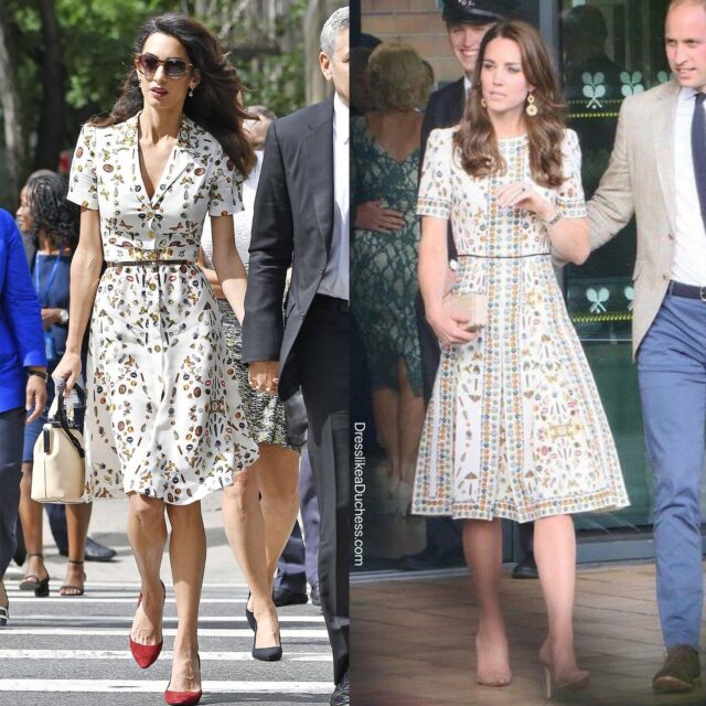 Obsessed! The Duchess of Cambridge wore an ivory obsession print short sleeve silk dress to Wimbledon in July 2016. The ready-to-wear 'Obsessions Talismans' style features a whimsical assortment of trinkets, charms, butterflies and the signature McQueen skull. Other imagery includes: lipstick tubes, pocket watches and jewels. The Duchess modified her dress to have a longer hemline. Amal Clooney was spotted in New York City in a version of the dress in September 2016. Actress Tia Mowry wore a box pleat crepe dress with the print in August 2016 while news anchor Norah O'Donnell wore the white icon print style on CBS This Morning in February 2019. Are you surprised we have not seen the Duchess 'recycle' this elegant look — it has a slightly Alice in Wonderland feel to it — what do you think? Should Kate wear this dress again? #katemiddleton #streetwear #iconic #pretty #glam #dress #celebrity #aliceinwonderland #chic #style #fashionista #fashionblogger #fashiongram #royal #fashionstyle