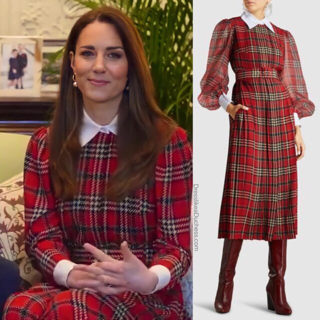 Mad About Plaid! The Duchess of Cambridge appears to have worn her Emilia Wickstead Anni tartan pleated chiffon crepe midi dress (last seen for a pre-Christmas luncheon in 2019) for a message sent to NHS staff — wishing them well on Burns night —celebrating Scottish poet Robert Burns. Though Kate appears to have worn the festive Georgette dress— there remains some uncertainty about whether the royal is actually wearing an Emilia 'Pris' pleated midi with the matching blouse. The duchess has long been a fan of the Scottish pattern and even selected a face mask in the design recently. The duchess also donned her Simone Rocha curb chain earrings. Shop a similar look on our LIKEtoKNOW.it page (link in bio)Thanks to Isa #katemiddleton #outfit #inspo #scotland #plaid #home #workfromhome #zoom #dress #holiday #elegant #throwback #festive #fashion #fashionstyle #styleoftheday #styleinspiration #styleblogger #royal #family
