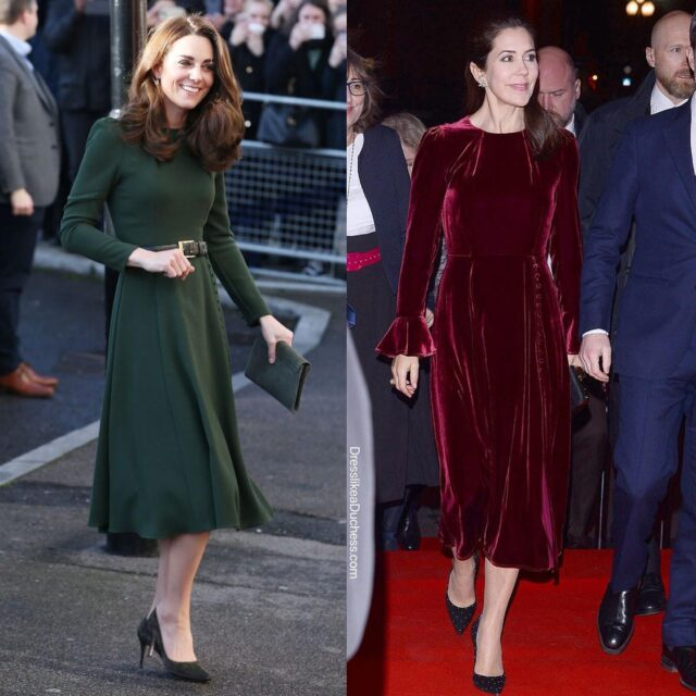 Renaissance Revival! The Duchess of Cambridge always looks elegant and polished in her Yahvi Olive green tailored midi dress — Crown Princess Mary owns the exact style in velvet while Ivanka Trump has the ruffled cuff and covered button design in two colors. Actress Elizabeth Hurley owns the look in powder pink. Do you prefer the midi in velvet or wool crepe? #katemiddleton #dress #midi #outfit #royal #elegant #sophisticated #pretty #lookbook #chic #fashionista #fashionstyle #stylist #styleinspiration #velvet #actress