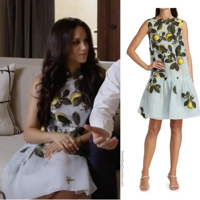 The Duke and Duchess of Sussex dropped in for a surprise appearance at a Spotify Stream event today. For the occasion, Duchess Meghan wore a lemon motif peplum 'Citrus Primavera' dress by Oscar de la Renta. The glamorous 60s-inspired shift has a dramatic flounce hem — adding the perfect finish to the Botticelli inspired frock. There are different versions available — visit our LIKEtoKNOW.it page (link in bio). The couple sat down for Spotify from their home — the French doors in the Sussexes California residence appear the same as listing photos for their Montecito property. #dress #ootd #meghanmarkle #princeharry #look #outfit #ootd #outfitinspiration #homedesign #springfashion #couple #royal #lemons #fashionstyle #fashiondesigner #oscardelarenta