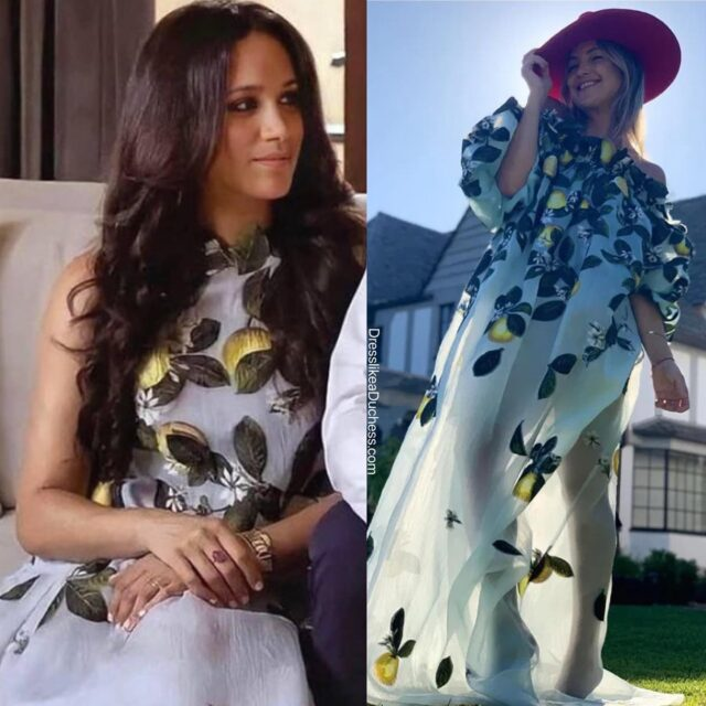 When Life Gives You Lemons...How fabulous did the Duchess of Sussex look in her citrus chic dress from Oscar de la Renta yesterday? The expectant mom was stunning in the mod design from her home in California — Meghan wore a 60s inspired primavera shift featuring a beautiful lemon motif from one of her go-to designers. Actress Kate Hudson wore a version from the collection — she donned an appliqué off the shoulder gown from de la Renta for a Friday Fashion Appreciation post from her backyard in September 2020. Both ladies are Zest to Impress! Which of Meghan's Oscar de la Renta dresses is your favorite? // Shop Meghan's dress (a few sizes remaining) and Kate's dress on our LTK page (link in bio) #fashionpost #fashionstyle #fashioninspo #meghanmarkle #katehudson #lookoftheday #outfit #springfashion #glam #designer #zoomfashion #fashionista #summerstyle #dress #pretty #lemon #styleblogger #style