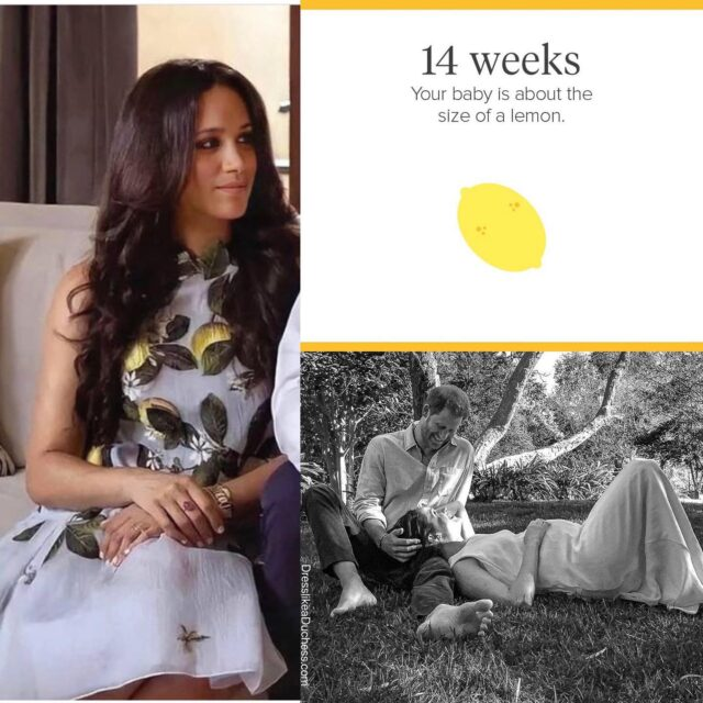 Main Squeeze! We just had a thought — could the Duchess of Sussex be dropping a clue about the birthdate of baby Archie's brother or sister with her lemon Oscar de la Renta dress? The consensus online seems to be that baby is the size of a lemon around 14 weeks. Meghan has used her clothing to drop hints and messages before i.e. her husband shirt and Karen Gee blessed dress — what do you guys think is the dress a clue or no? #baby #mom #momstyle #fashion #meghanmarkle #dress #look #fashionable #fashiongram #duedate #couplegoals #family #style