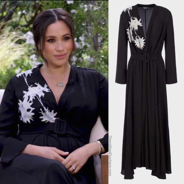 The Duke and Duchess of Sussex sat down with Oprah for an intimate interview. For the chat, the Duchess wore Armani as well as some of her favorite jewelry pieces including her Birks bee chic earrings (blue topaz), Cartier Love bracelet and Princess Diana's Diamond tennis bracelet. Meghan also wore her Aquazzura pumps. Shop the gorgeous floral print belted midi dress in our IG story and on our LTK page (link in bio) Are you looking forward to the Sussexes interview? #fashion #ootd #designer #fashionstyle #fashionista #blogger #royal #dress #gown #glam #oprah #meghanmarkle #jewelry #backyard #style #styleinspo