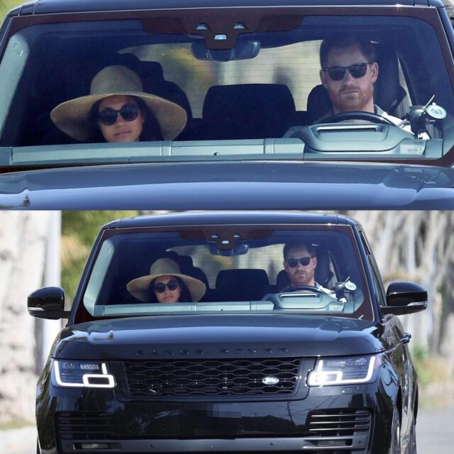 The Duke and Duchess of Sussex were spotted on Sunday driving around California in a black Range Rover. It appears Meghan *possibly* wore her Janessa Leone Serena hat and Le Specs sunglasses for the daytime outing. #meghanmarkle #californiaadventure #cali #couplegoals #sun #sunglasses #drive #fashion #fashionpost #outdoors #family #style #hat #royal