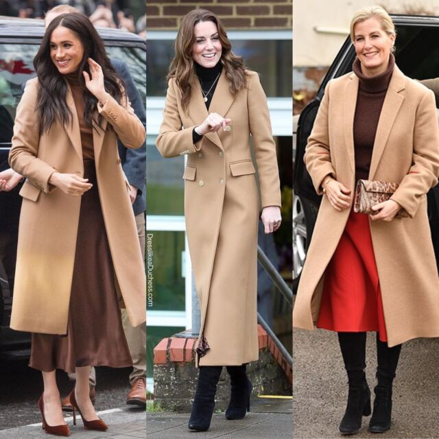 Rules for Royal Dressing. Camel coat. Check! Long Skirt. Check! Turtleneck. Check! Soft Suede or Velvet footwear. Check! Dainty gold jewelry. Check! #style #outfitinspiration #katemiddleton #meghanmarkle #camelcoat #coat #royal #skirt #fashionista #sweater #look #fashion #outfitideas #boots