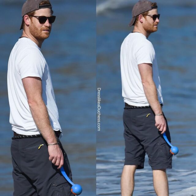 Shore Thing! Pictures of Prince Harry from People Magazine show the Duke of Sussex playing at the beach with dog Pula. According to onlookers, the new California resident looked totally at ease and was walking barefoot on the sand at the ocean near his home in Montecito. Harry was dressed casually in a white t-shirt, baseball cap and shorts for the laidback beach outing. **Photo Credit GAC/Mega via People Magazine. #princeharry #beach #california #ocean #royal #news #mensfashion #casualstyle #casualoutfit