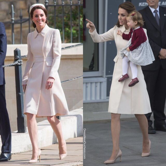 Easter Ensembles! A look back at a few of the Duchess of Cambridge's rewears for Easter. // 1. Catherine Walker Coat 2017 and 2016 (Canada) 2. Queen's pearl and Diamond earrings 3. Rupert Sanderson pumps 4. Catherine Walker Brown swing coat (St. Patrick's Day 2015 and Easter 2018) 5. Five Pearl Brooch 6. Balenciaga Pearl Clip Earrings 7. Loeffler Lizard Effect Clutch 8. Alexander McQueen Coat (2014 in Sydney and Easter 2019) 9. Jane Taylor Lupin Fascinator 10. Robinson Pelham Acorn earrings #easter #easter2021 #katemiddleton #fashion #throwback #elegant #outfit #holiday #fashionstyle #lookbackatit #thrifting #royal #church #styleinspo #style #fashiongirl #diamond #earrings