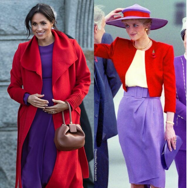 A week ago we posted a look back at some of Princess Diana's coats and jackets and a few times her styles resembled those of the Duchess of Cambridge—now we look at Duchess Meghan's famous wrap coats, trench jackets and raincoats and a few times those styles seemed to echo the fashion of the late Princess. Do you think Harry and Meghan will include the name Diana in the moniker of their early summer arrival — a baby girl? #meghanmarkle #princessdiana #royal #style #fashion #coat #jacket #throwback #history #outfit #fashionista #stylish #styleinspo #fashionstyle #styleblogger
