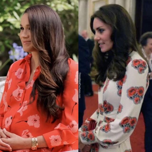 "Flower Power! The Duchess of Sussex looked radiant in a red poppy shirtdress by Carolina Herrera for her virtual speech at Vax Live as a co-chair of the event alongside husband Prince Harry today (recorded earlier). The Duchess of Cambridge is also fond of the print — the Royal British Legion says the red poppy is a symbol of both Remembrance and hope for a peaceful future. Kate wore a white Alexander McQueen poppy print dress to a palace reception in 2016. She has also worn poppy print dresses for various royal functions. Interestingly, the term ""Poppet"" is also a term of endearment meaning doll or sweet girl — and has been used by Prince William to address Kate and reportedly is also a nickname for Princess Charlotte. Do you think the Sussexes baby girl could be named Poppy? #flower #dress #design #fashion #katemiddleton #royal #pretty #girls #outfits #stylish #style #lookoftheday #chic #babygirl #poppy"