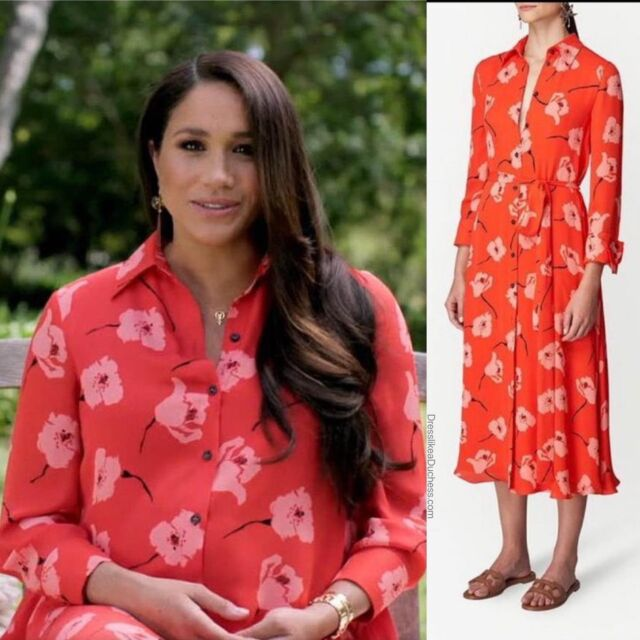 The Duchess of Sussex looking stunning in a poppy print shirtdress by Carolina Herrera for the Vax Live concert. The flowery silk dress is styled with a tie cinched waist and flowy a-line midi skirt. Find more fashion details on Meghan's concert appearance on our LiketoKnow.It page (link in bio) #meghanmarkle #style #ootd #dress #pretty #royal #backyard #momtobe #chic #trendy #designer #fashionista #look #elegant