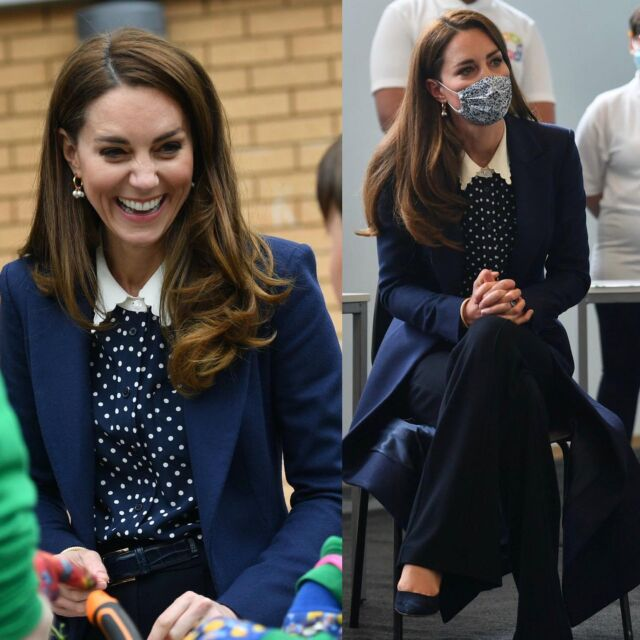 The Duke and Duchess of Cambridge visited The Way Youth soon -  first of three organisations (they will visit today) in Wolverhampton that are motivating and inspiring young people to transform their lives. Kate wore a Tory Burch blouse and opted for some new earrings! Outfit details on our LiketoKnow.It page (link in bio) Image credit: PA. #katemiddleton #outfit #fashionista #style #lookoftheday #styleinspo #chic #trendy #workwear #purse #royal #today #england