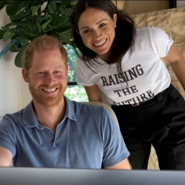 """A first look at Prince Harry & Oprah's mental health docu-series, """"The Me You Can't See,"""" premiering Friday (with a Meghan Markle cameo!) For the video, the Duchess donned a Mere Soru t-shirt. The UK lifestyle brand is """"dedicated to celebrating sisterhood and empowering mums."""" Meghan also wore her Lorraine Schwartz Diamond and onyx earrings without the jacket. Meghan  has long been a fan of graphic t-shirts with powerful messages and seems even more interested in her mission of female empowerment and women's rights as she and Harry anticipate the arrival of their daughter this summer. #meghanmarkle #outfit #workfromhome #styleinspo #casual #couplegoals #tshirt #ootd #oprah #fashionpost"""