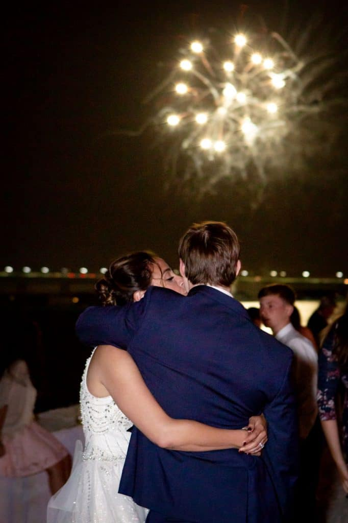 Liz and Nick Kissing Under Fireworks Display