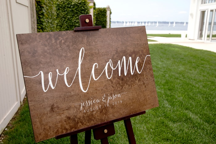 Welcome Sign at Wedding Inviting People to Connect