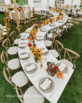 Wedding Table Set with Sunflowers and Colorful Flowers