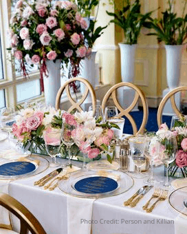 Wedding Table with Bouquets and Place Settings