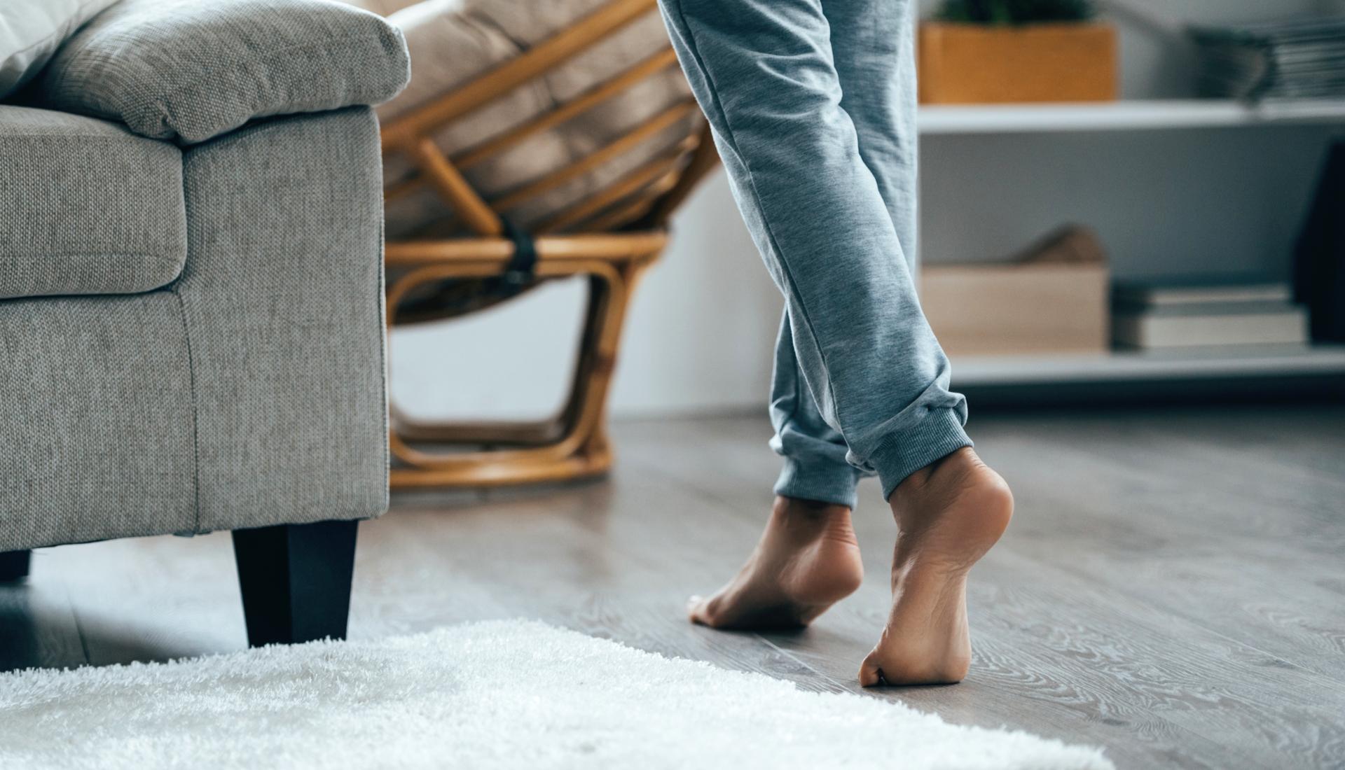 feet on hardwood