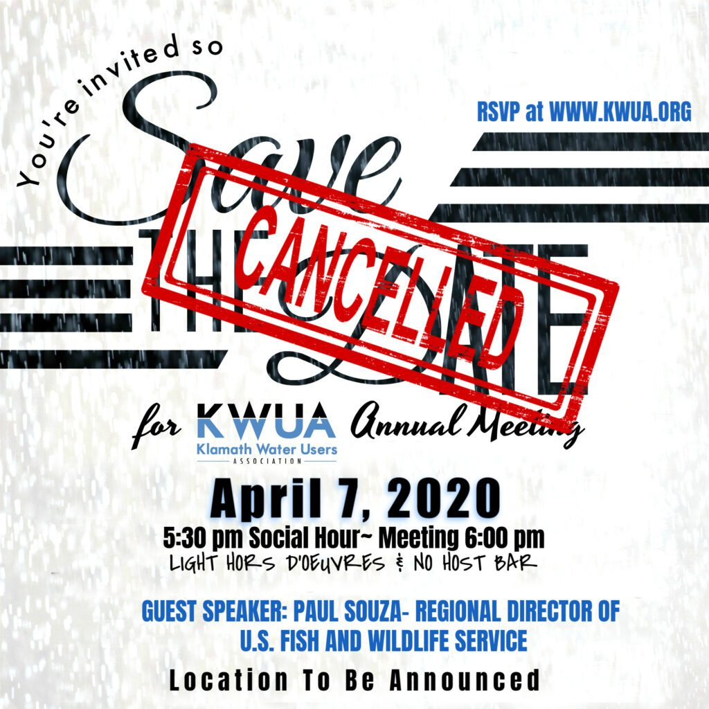 The KWUA Annual Meeting for 2020 is cancelled at this time.