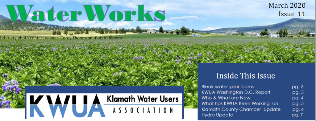 March 2020 Water Works header with potato field photo