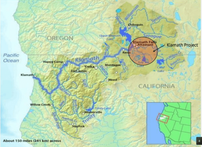 Map of Klamath Basin with Klamath Project highlighted