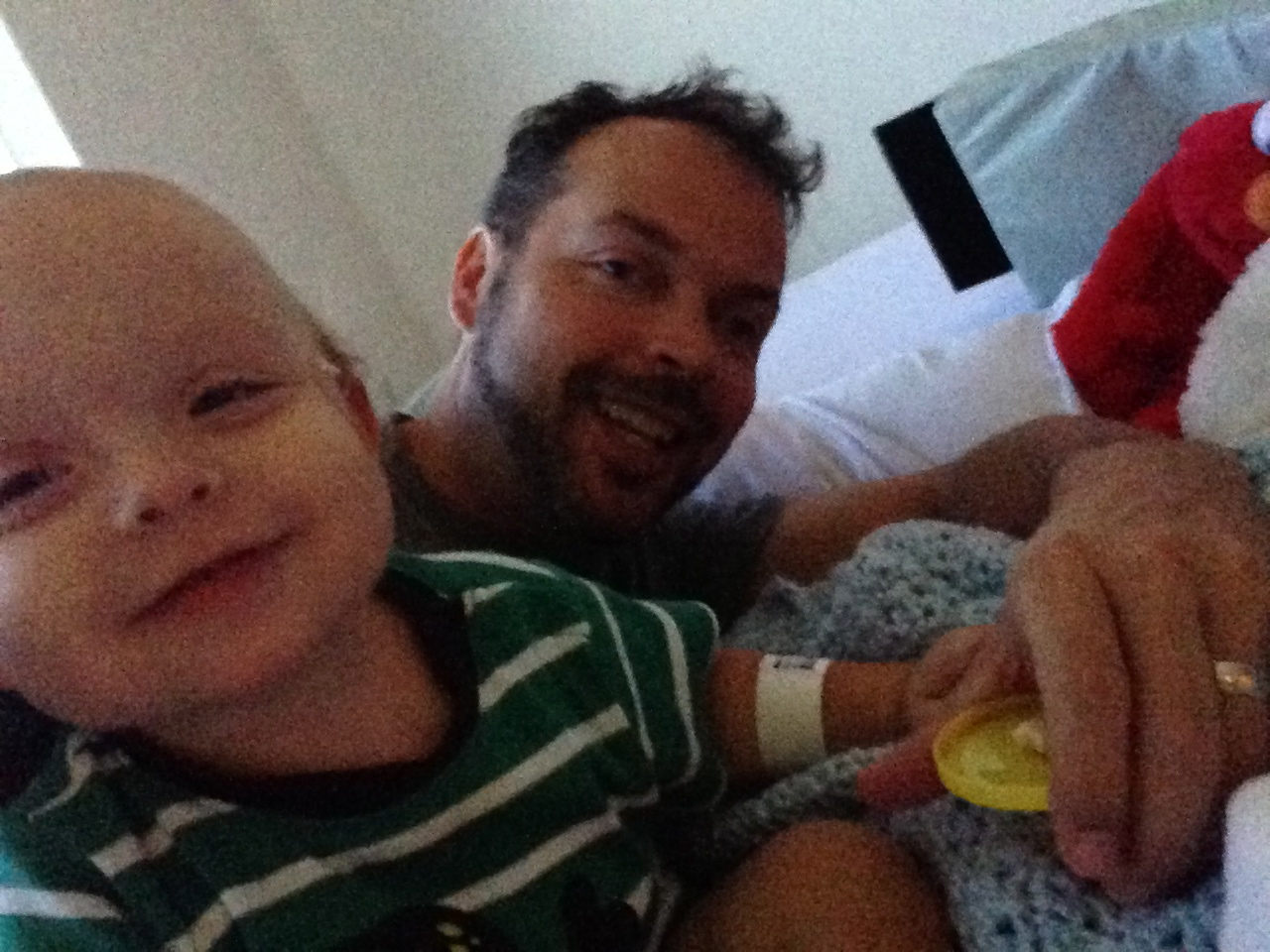 Daddy and Son feeling better in the hospital