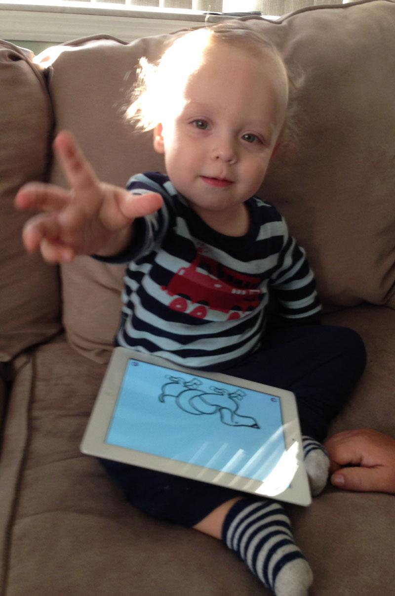 Ziggy with his iPad