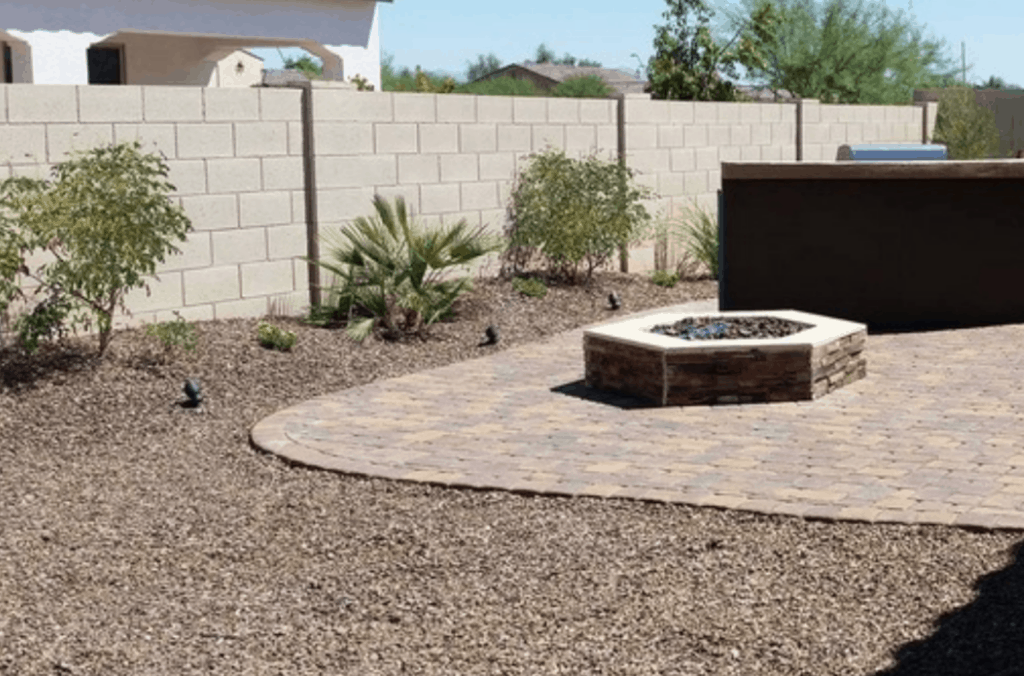custom firepit and landscape rock