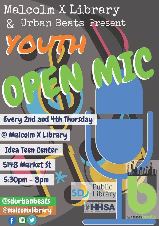 Youth Open Mic @ Idea Teen Center @ Malcom X Library | San Diego | California | United States