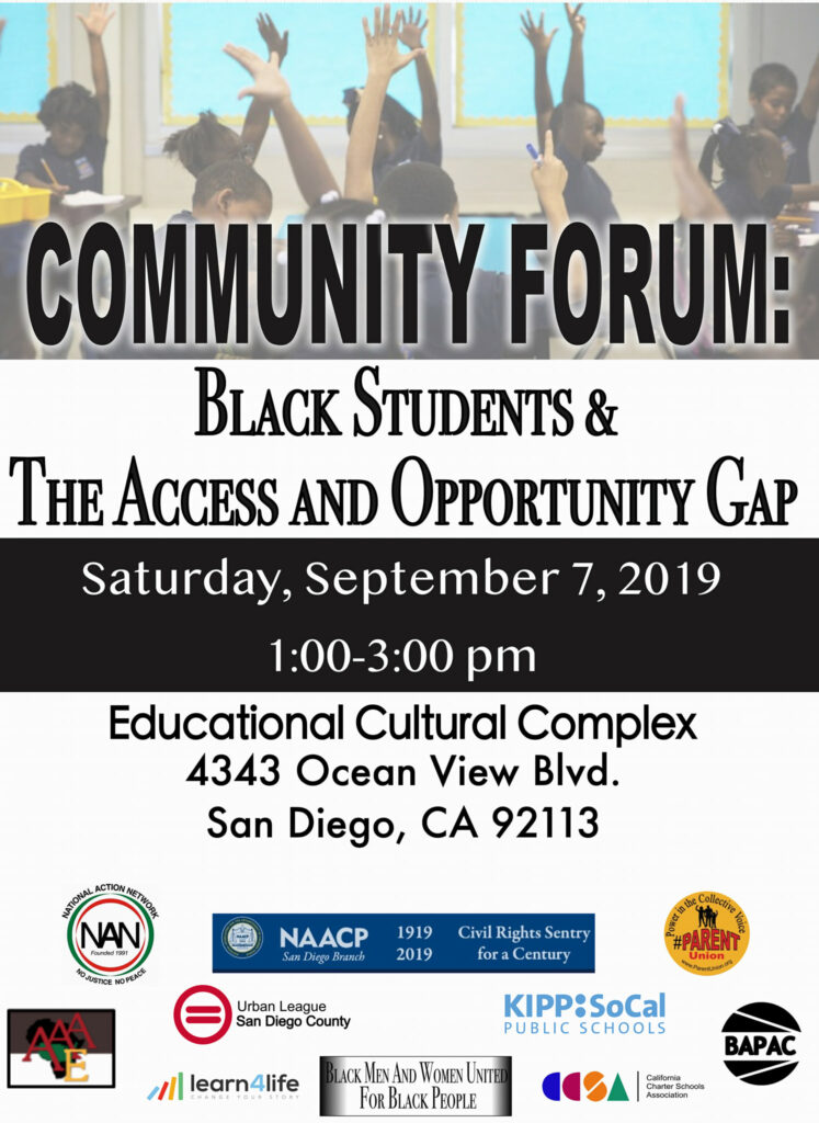 Community FORUM: BLACK STUDENTS & THE ACCESS AND OPPORTUNITY GAP @ Educational Cultural Complex (ECC)