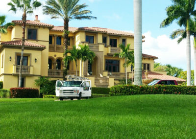 Exterior House Painting - Painters arrive at multi-level home in Naples, Florida - aceperformanceplus.com