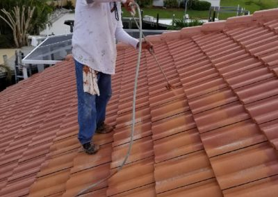 Terra cotta tile roof painted, sealed